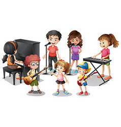 Children playing instruments and sing vector