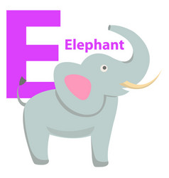 children s alphabet icon cartoon elephant letter e vector image
