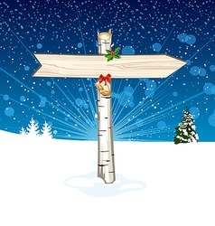 Christmas wooden arrow sign vector image