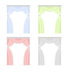 Color Curtain Set Window Cover Blind on White vector image