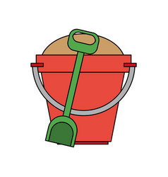 Color image bucket with sand and shovel vector