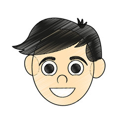 Color pencil caricature front face guy with short vector