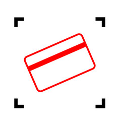 Credit card symbol for download red icon vector