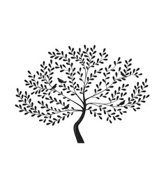 Decorative tree with birds on branches silhouette vector