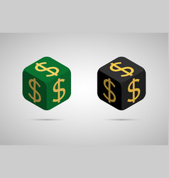 dollar green and black dollar cube vector image vector image