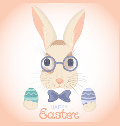 easter bunny in glasses and bow with paschal eggs vector image vector image