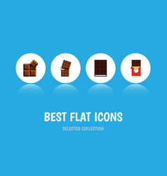 flat icon sweet set of wrapper cocoa dessert and vector image vector image