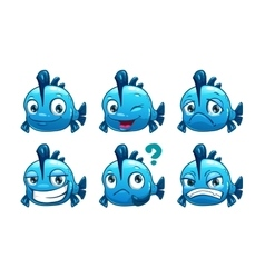 Funny cartoon blue fish vector image