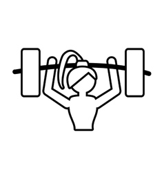 Girl lifting barbell fitness gym outline vector