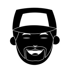 Happy smiling man wearing baseball cap icon imag vector