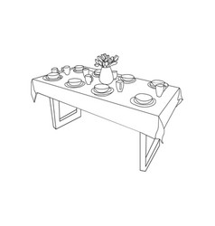 isolated table and tableware on the table vase of vector image
