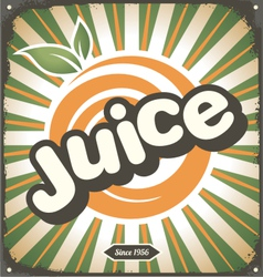 Juice retro tin sign design vector image
