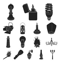 light source black icons in set collection for vector image vector image