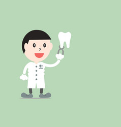 male dentist showing healthy teeth with plier vector image vector image