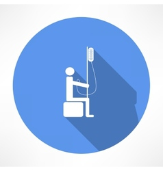 Man and intravenous dropper icon vector