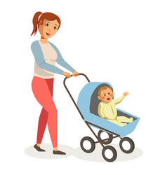 mother walks with son in blue baby carriage vector image