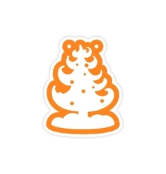 Paper sticker on white background snow tree vector