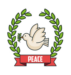 Peace postcard dove and wreath laurel decoration vector