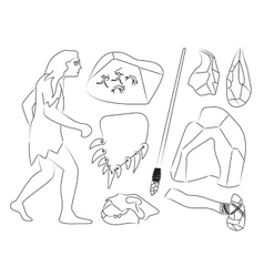 Prehistoric stone age icons set vector image