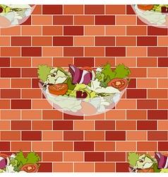 Salad bowl on red orange brick wall vector