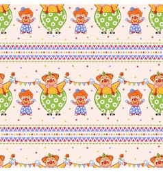 Seamless pattern with big and small clowns vector