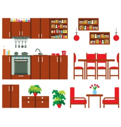 Set of kitchen furniture vector image vector image