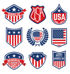 set of the emblems with american flag memorial day vector image vector image