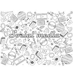 Social media coloring book vector image vector image