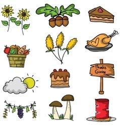 Thanksgiving element set on doodles vector image