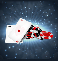Two aces with chips vector