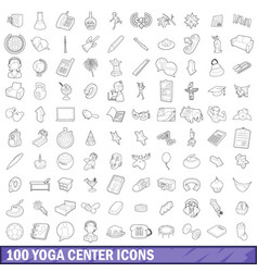 100 yoga center icons set outline style vector image