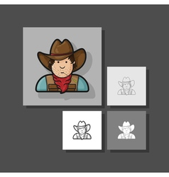 Contour flat character cowboy icon hat and cape vector