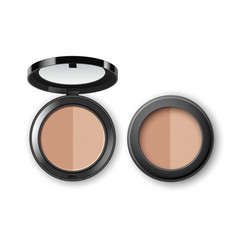 Makeup powder with mirror on background vector