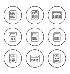 Set round line icons of calculator vector