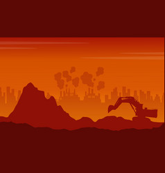 Scrap heap with pollution industry bad environment vector