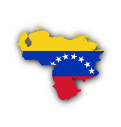 Map and flag of venezuela vector