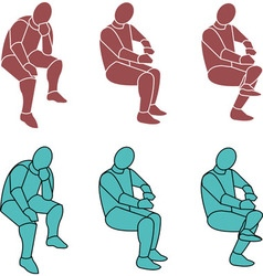 16 Silhouette Person Sitting b Small vector image vector image