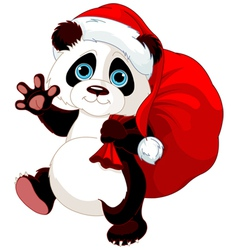 Panda with a sack full of gifts vector image