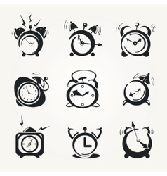 Alarm clock black icons vector