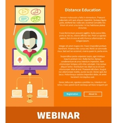 Webinare distance education and learning concept vector