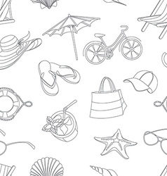 Summer icons seamless line pattern doodle style vector