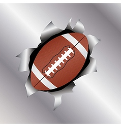Football thru metal sheet vector