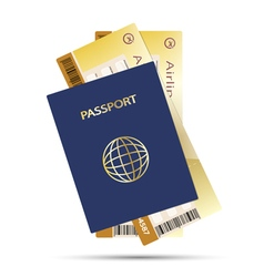 Air ticket golden and pass vector