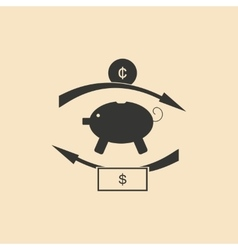 Flat in black and white piggy bank money vector