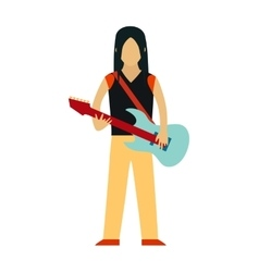Rock star cartoon characters with guitar isolated vector