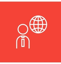 Man with globe line icon vector