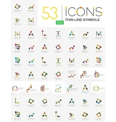 Collection of linear abstract logos vector image