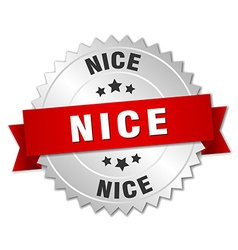 Nice round silver badge with red ribbon vector