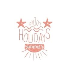 Summer holidays vintage emblem with stars vector