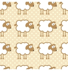 Seamless pattern with sheep on warm dotted vector